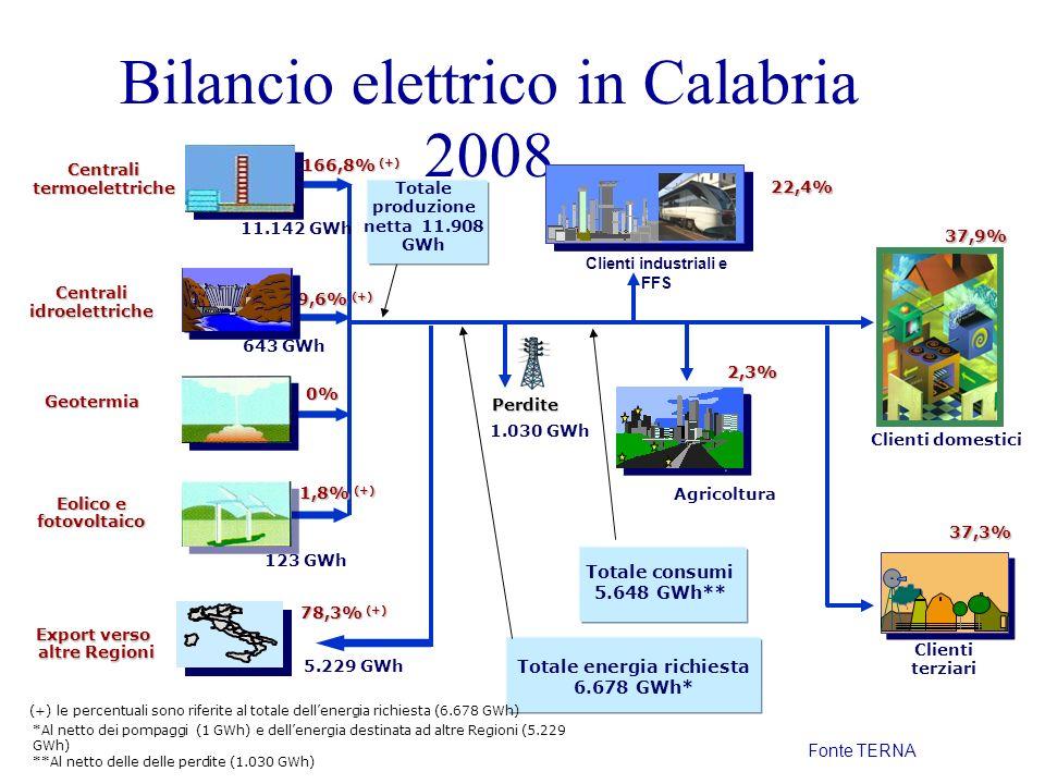 Bilancio elettrico in Calabria 2008