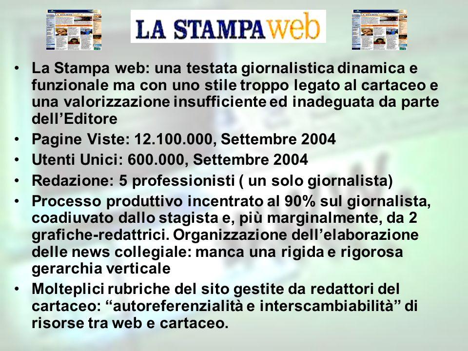 La Stampa web: una testata giornalistica dinamica e funzionale ma con uno stile troppo legato al cartaceo e una valorizzazione insufficiente ed inadeguata da parte dell'Editore