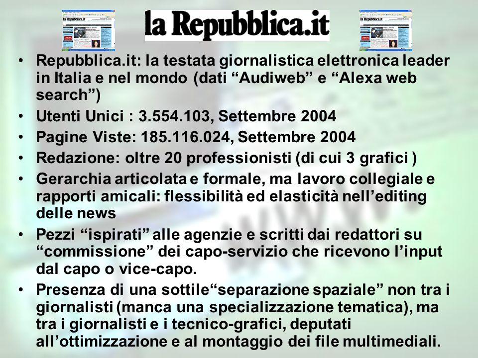 Repubblica.it: la testata giornalistica elettronica leader in Italia e nel mondo (dati Audiweb e Alexa web search )