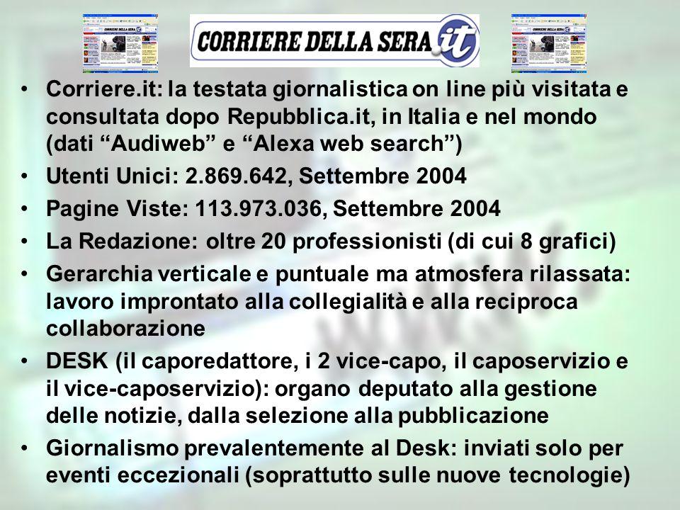 Corriere.it: la testata giornalistica on line più visitata e consultata dopo Repubblica.it, in Italia e nel mondo (dati Audiweb e Alexa web search )