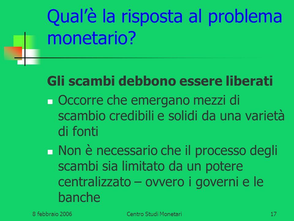 Qual'è la risposta al problema monetario