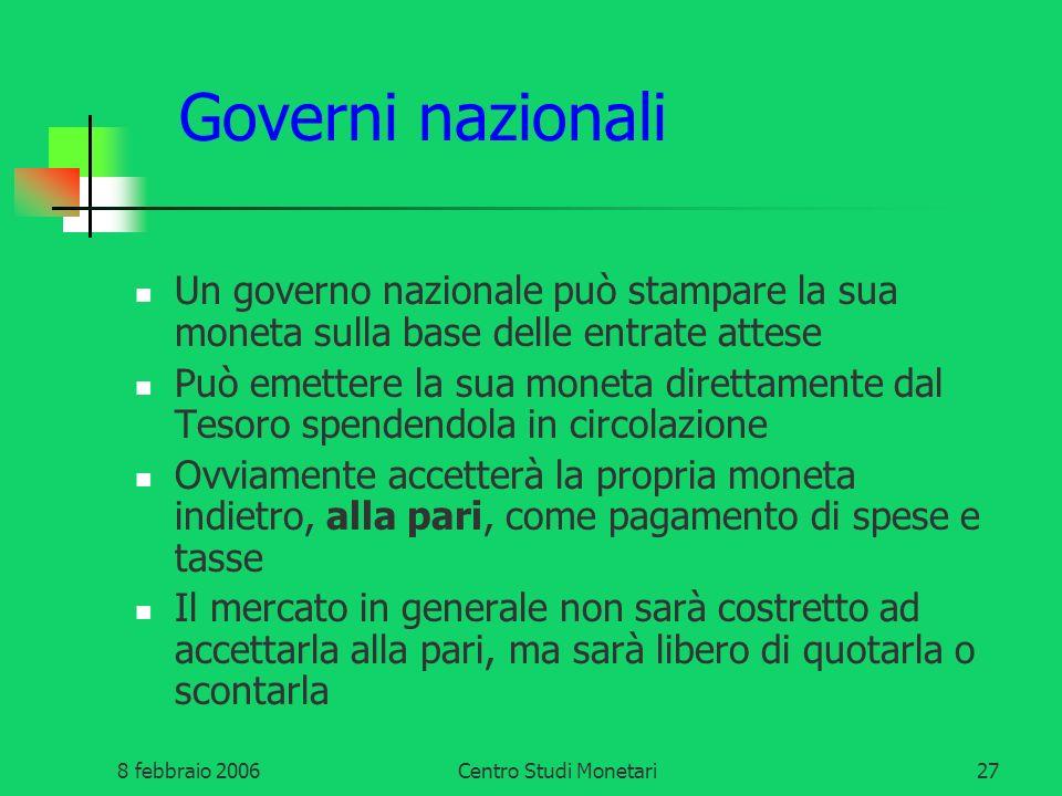 Governi nazionali Un governo nazionale può stampare la sua moneta sulla base delle entrate attese.