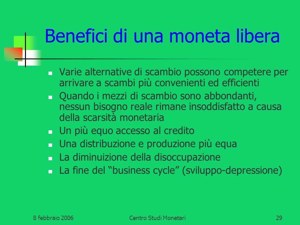 Benefici di una moneta libera
