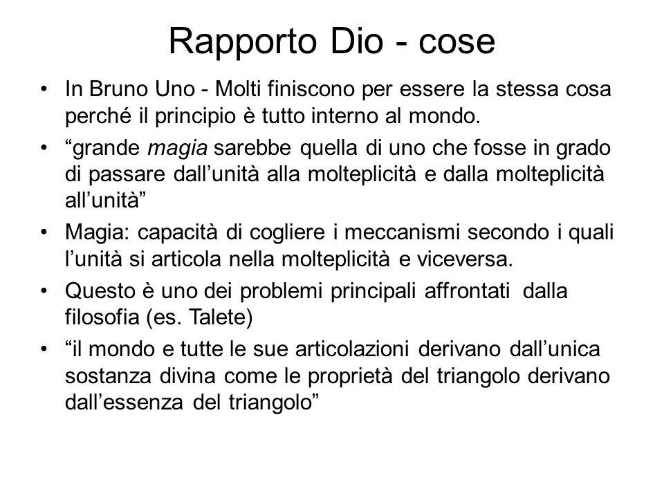 Rapporto Dio - cose In Bruno Uno - Molti finiscono per essere la stessa cosa perché il principio è tutto interno al mondo.