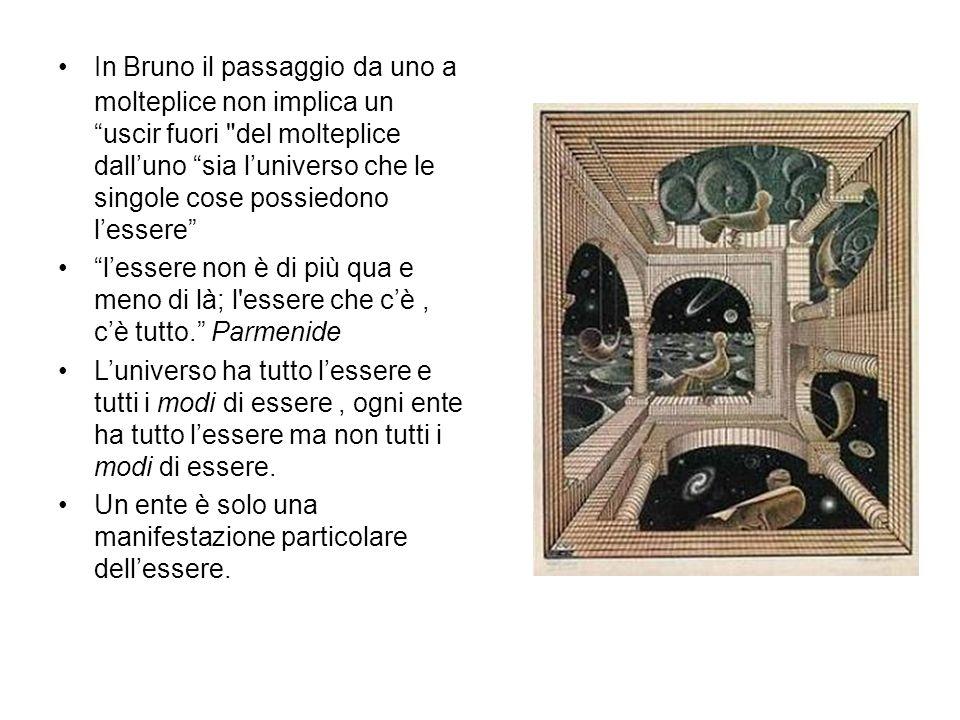 In Bruno il passaggio da uno a molteplice non implica un uscir fuori del molteplice dall'uno sia l'universo che le singole cose possiedono l'essere