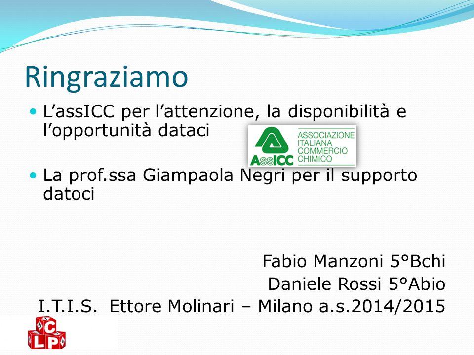 Ringraziamo L'assICC per l'attenzione, la disponibilità e l'opportunità dataci. La prof.ssa Giampaola Negri per il supporto datoci.