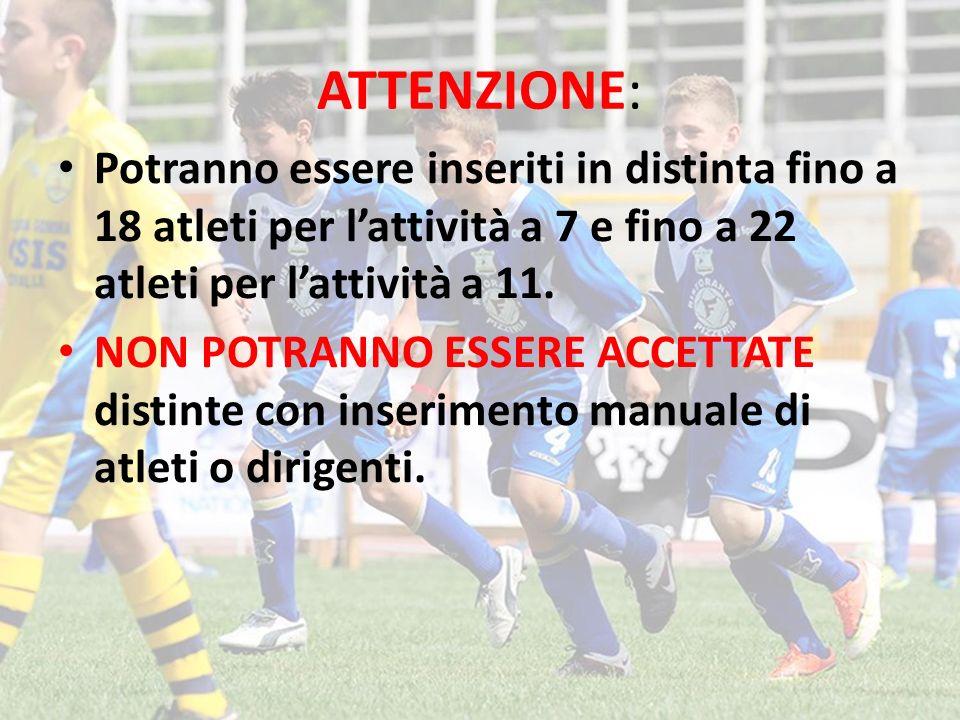ATTENZIONE: Potranno essere inseriti in distinta fino a 18 atleti per l'attività a 7 e fino a 22 atleti per l'attività a 11.