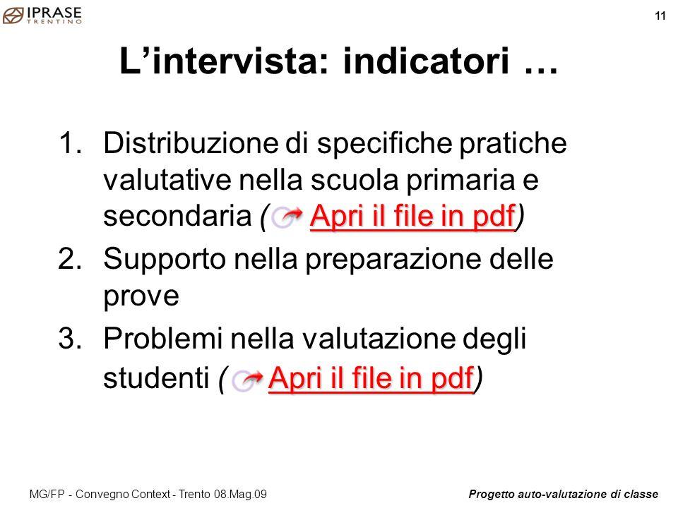L'intervista: indicatori …