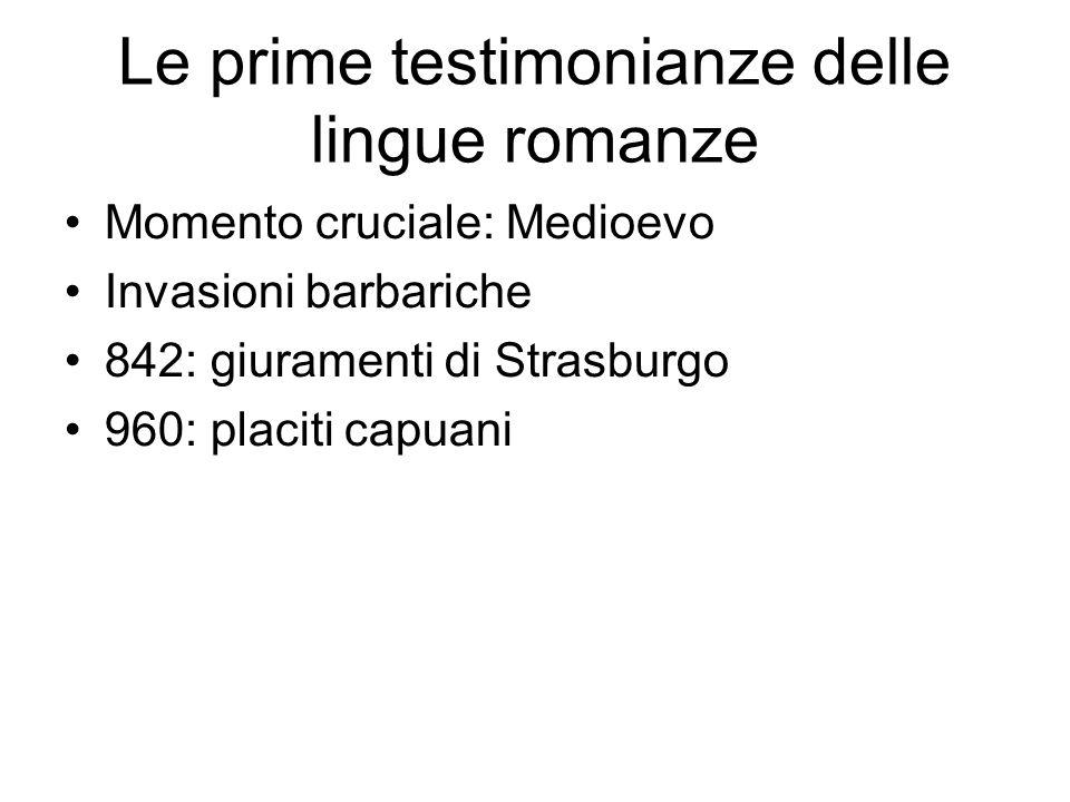 Le prime testimonianze delle lingue romanze