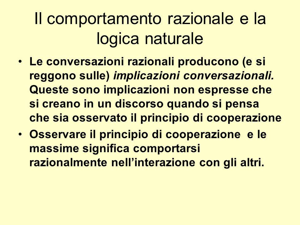 Il comportamento razionale e la logica naturale