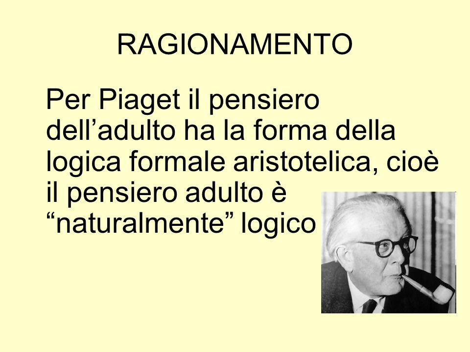 RAGIONAMENTOPer Piaget il pensiero dell'adulto ha la forma della logica formale aristotelica, cioè il pensiero adulto è naturalmente logico.