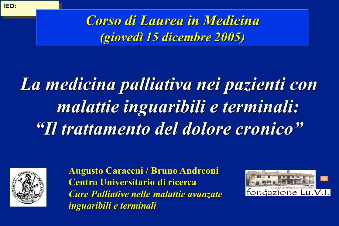 Corso di Laurea in Medicina Il trattamento del dolore cronico