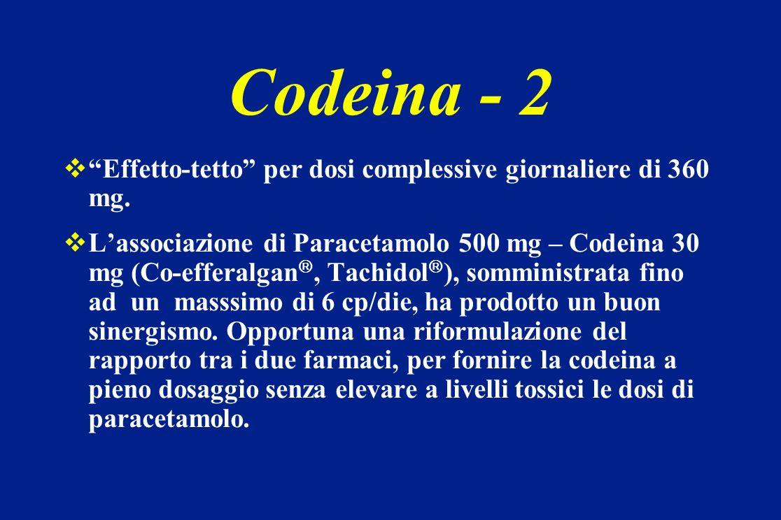 Codeina - 2 Effetto-tetto per dosi complessive giornaliere di 360 mg.