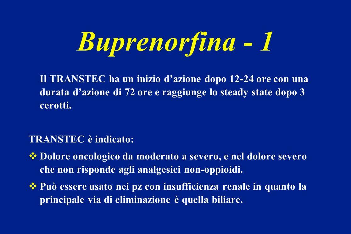 Buprenorfina - 1Il TRANSTEC ha un inizio d'azione dopo 12-24 ore con una durata d'azione di 72 ore e raggiunge lo steady state dopo 3 cerotti.