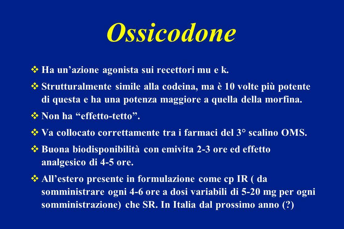 Ossicodone Ha un'azione agonista sui recettori mu e k.