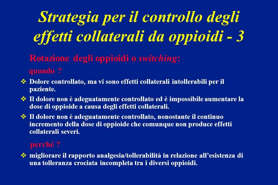Strategia per il controllo degli effetti collaterali da oppioidi - 3
