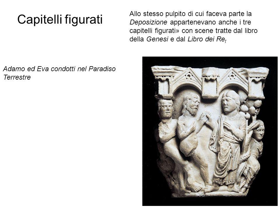 Allo stesso pulpito di cui faceva parte la Deposizione appartenevano anche i tre capitelli figurati» con scene tratte dal libro della Genesi e dal Libro dei Ret