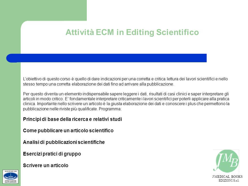 Attività ECM in Editing Scientifico