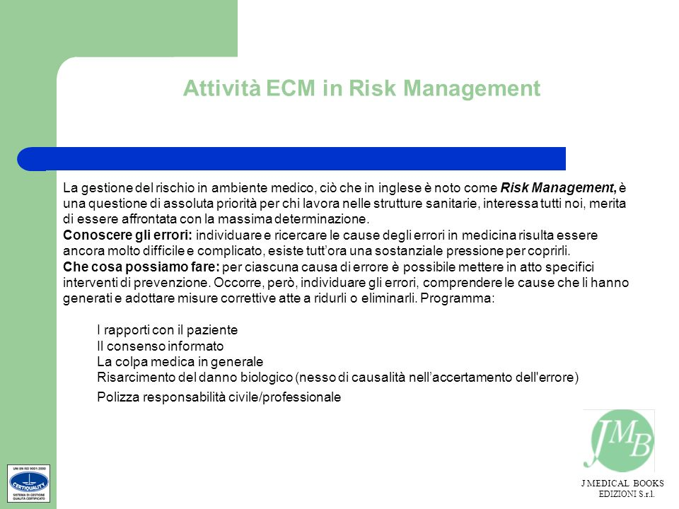 Attività ECM in Risk Management