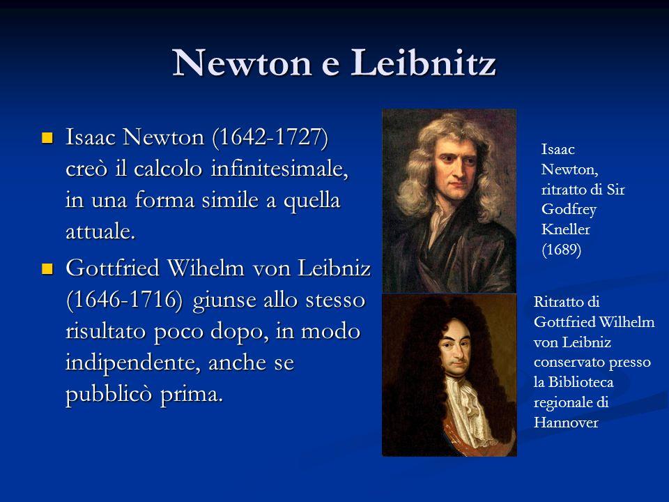 Newton e Leibnitz Isaac Newton (1642-1727) creò il calcolo infinitesimale, in una forma simile a quella attuale.