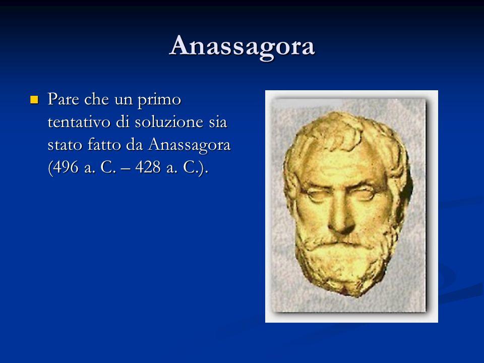 Anassagora Pare che un primo tentativo di soluzione sia stato fatto da Anassagora (496 a.