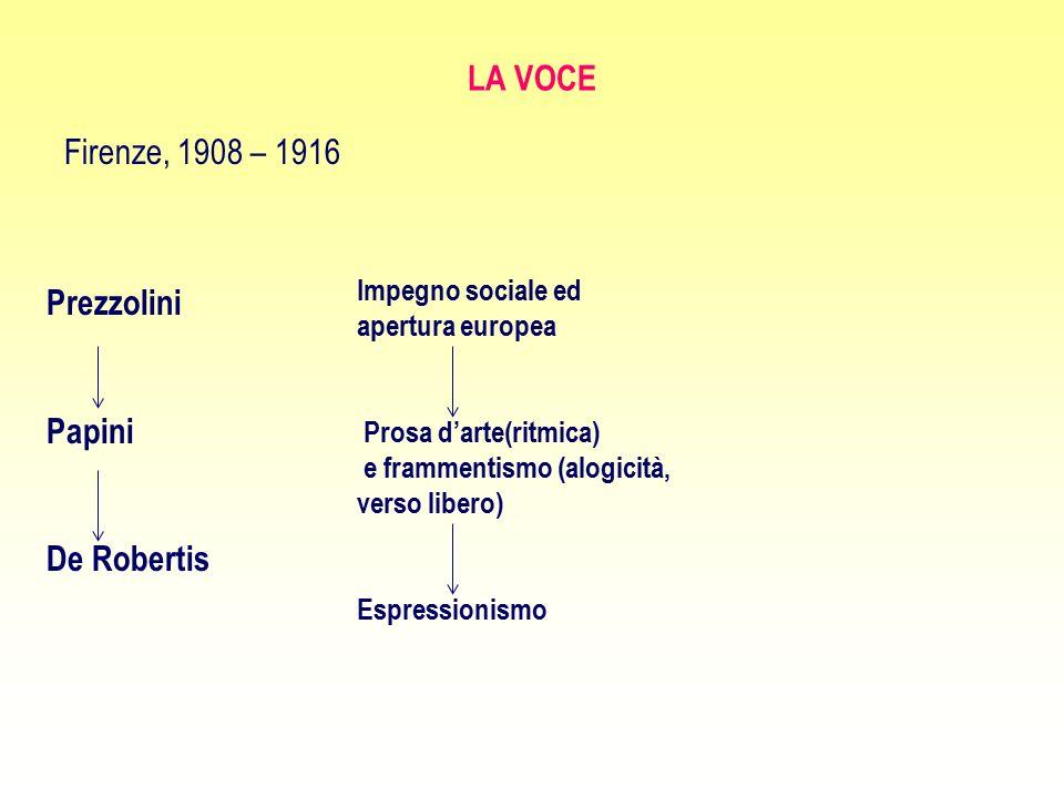 LA VOCE Firenze, 1908 – 1916 Prezzolini Papini De Robertis