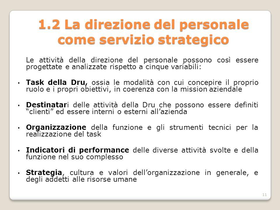 1.2 La direzione del personale come servizio strategico