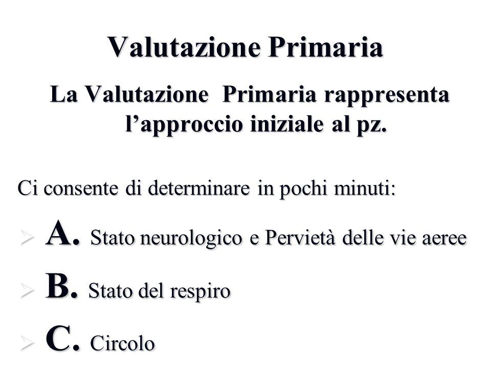 La Valutazione Primaria rappresenta l'approccio iniziale al pz.