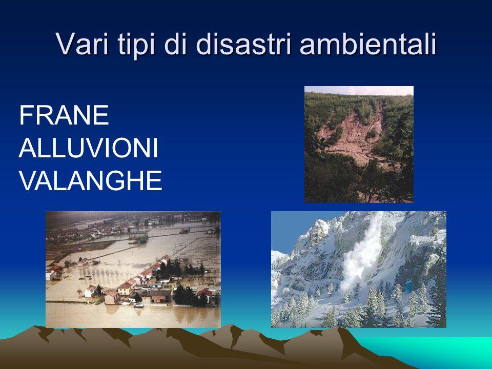 Vari tipi di disastri ambientali