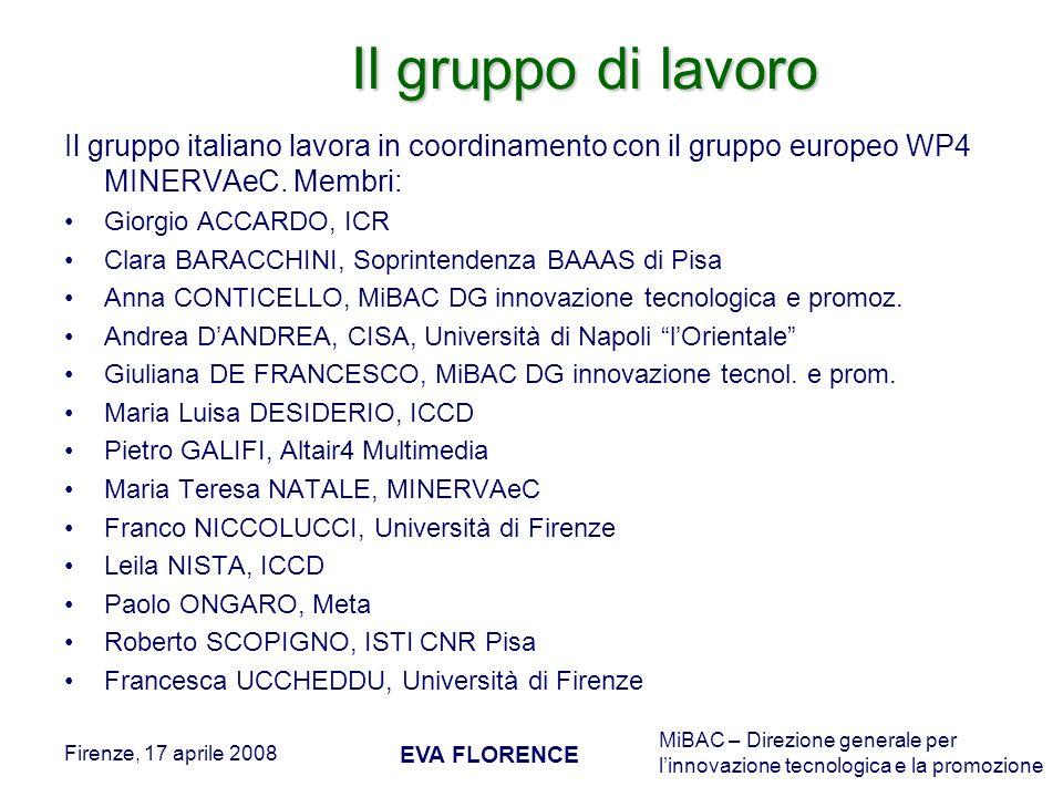 Il gruppo di lavoro Il gruppo italiano lavora in coordinamento con il gruppo europeo WP4 MINERVAeC. Membri: