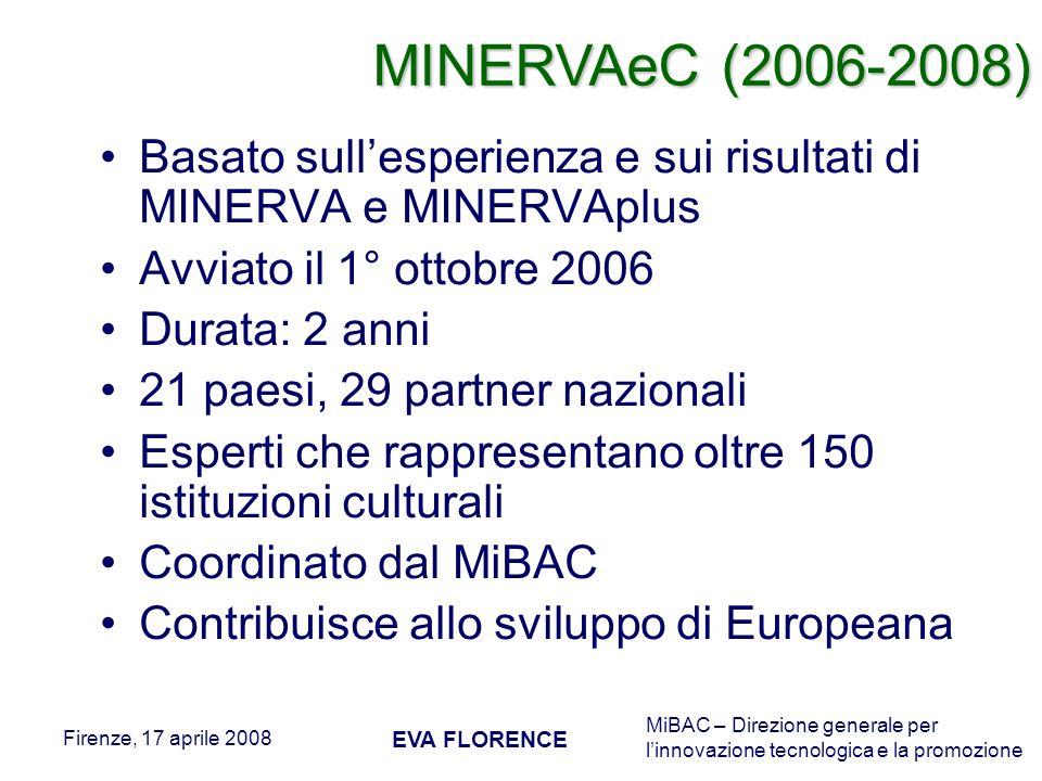 MINERVAeC (2006-2008) Basato sull'esperienza e sui risultati di MINERVA e MINERVAplus. Avviato il 1° ottobre 2006.