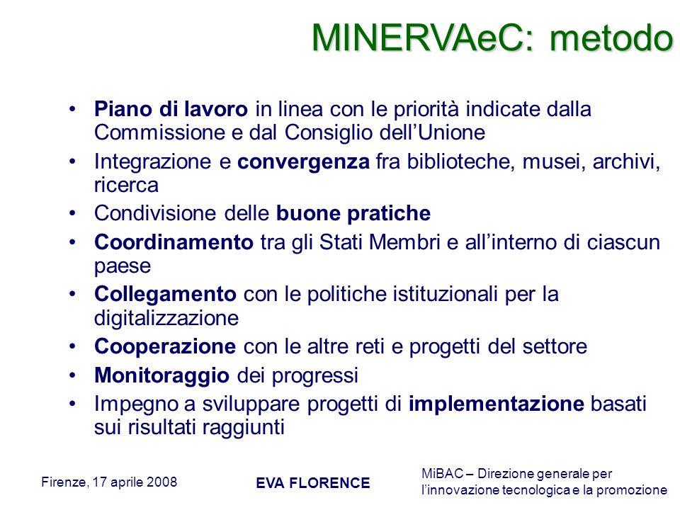 MINERVAeC: metodo Piano di lavoro in linea con le priorità indicate dalla Commissione e dal Consiglio dell'Unione.