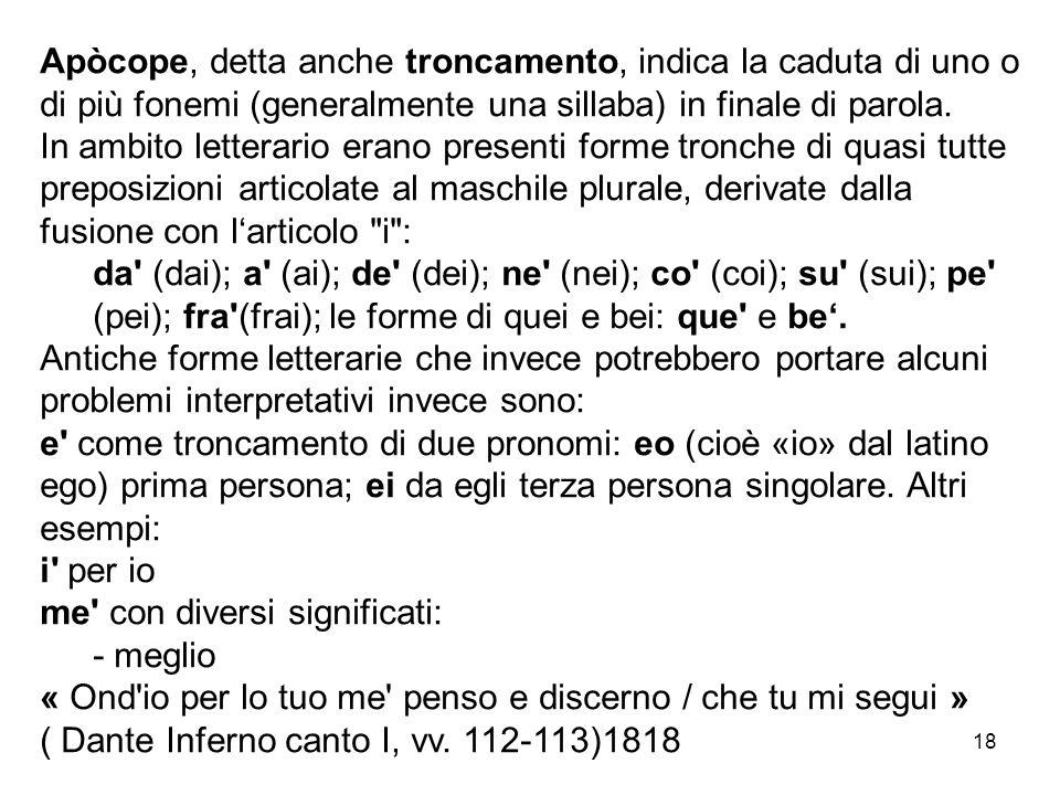 Apòcope, detta anche troncamento, indica la caduta di uno o di più fonemi (generalmente una sillaba) in finale di parola.