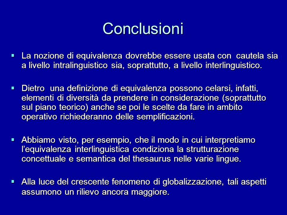 Conclusioni La nozione di equivalenza dovrebbe essere usata con cautela sia a livello intralinguistico sia, soprattutto, a livello interlinguistico.