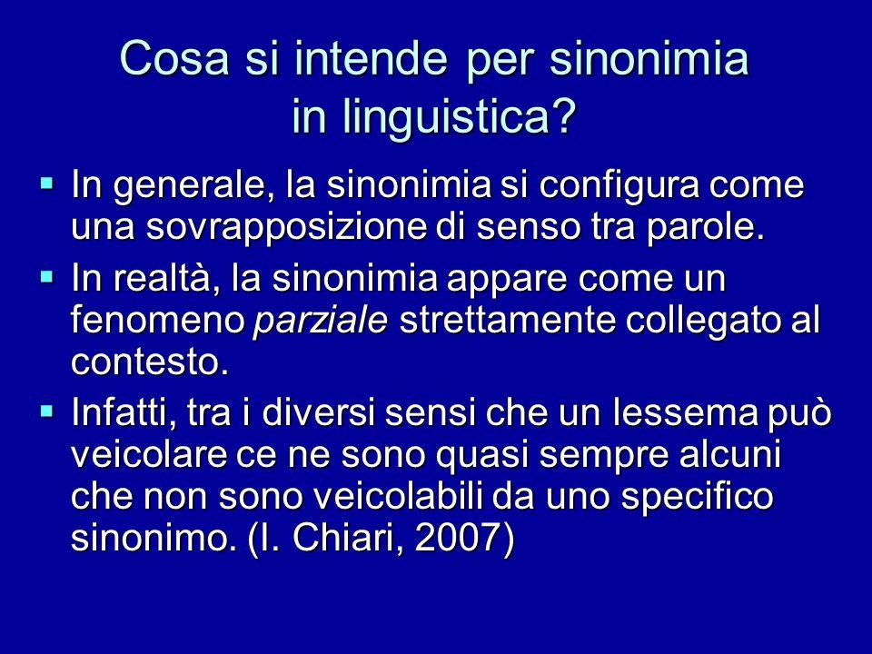 Cosa si intende per sinonimia in linguistica