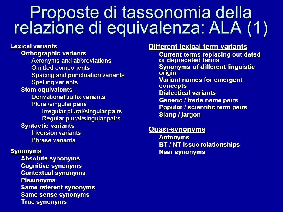 Proposte di tassonomia della relazione di equivalenza: ALA (1)