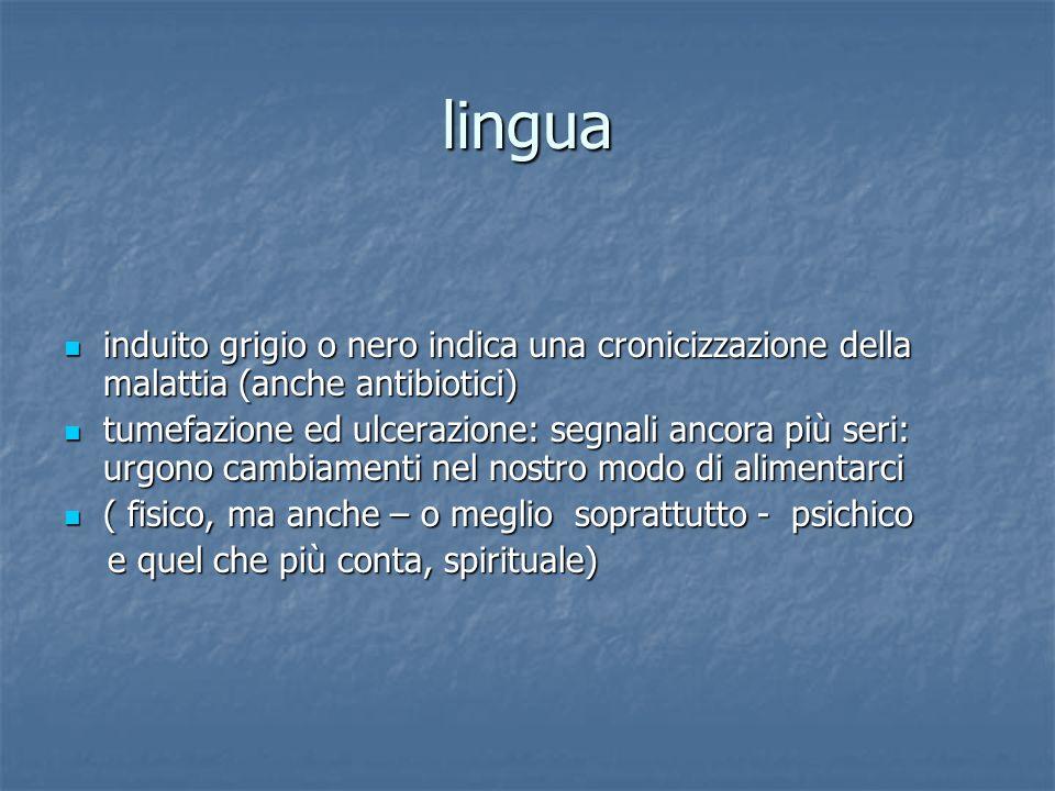 lingua induito grigio o nero indica una cronicizzazione della malattia (anche antibiotici)