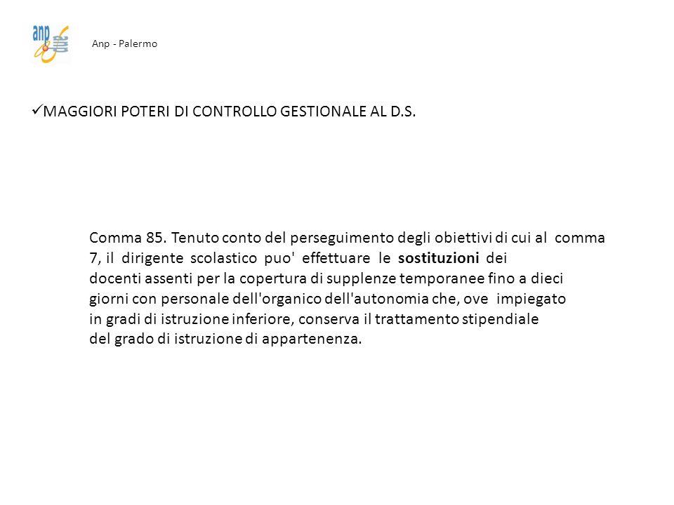 MAGGIORI POTERI DI CONTROLLO GESTIONALE AL D.S.