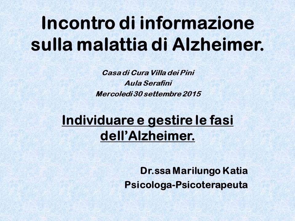 Incontro di informazione sulla malattia di Alzheimer.