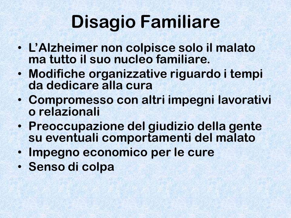 Disagio Familiare L'Alzheimer non colpisce solo il malato ma tutto il suo nucleo familiare.