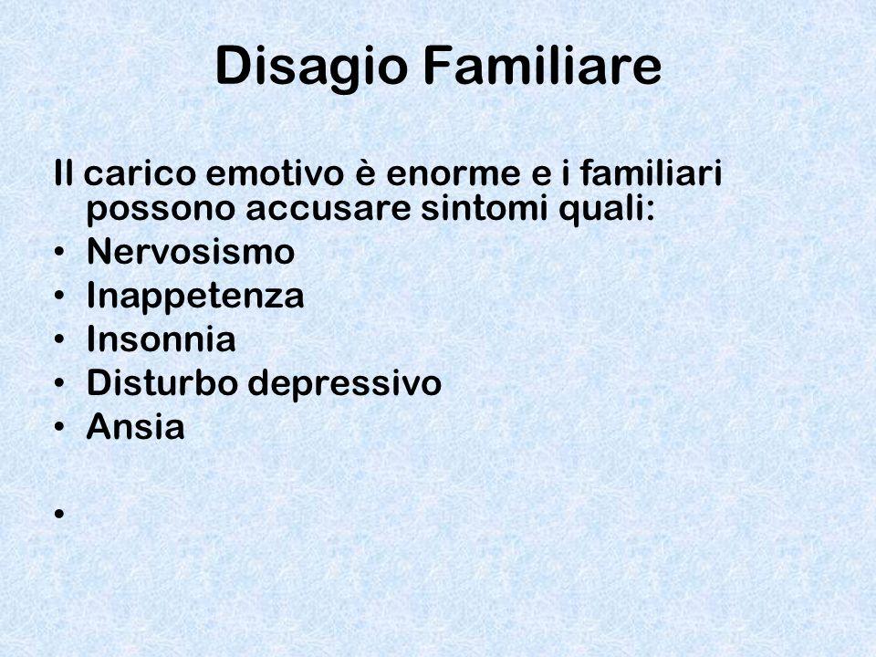 Disagio Familiare Il carico emotivo è enorme e i familiari possono accusare sintomi quali: Nervosismo.
