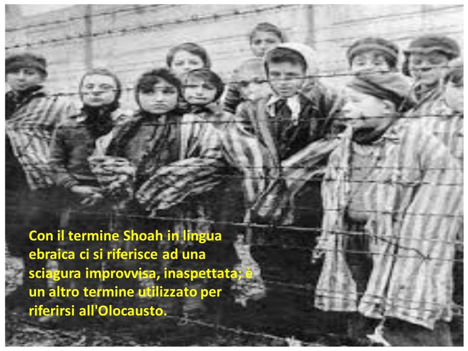 Con il termine Shoah in lingua ebraica ci si riferisce ad una sciagura improvvisa, inaspettata; è un altro termine utilizzato per riferirsi all Olocausto.