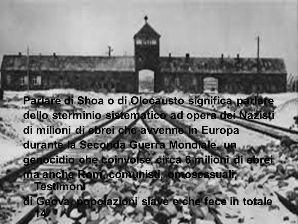 Parlare di Shoa o di Olocausto significa parlare dello sterminio sistematico ad opera dei Nazisti di milioni di ebrei che avvenne in Europa durante la Seconda Guerra Mondiale, un genocidio che coinvolse circa 6 milioni di ebrei ma anche Rom, comunisti, omosessuali, Testimoni di Geova, popolazioni slave e che fece in totale 14 milioni di vittime.