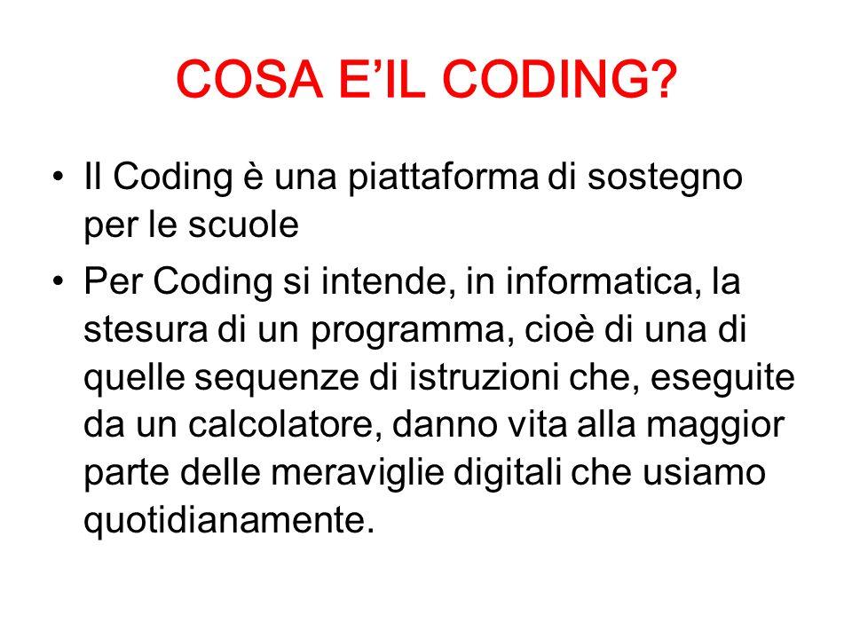 COSA E'IL CODING Il Coding è una piattaforma di sostegno per le scuole.