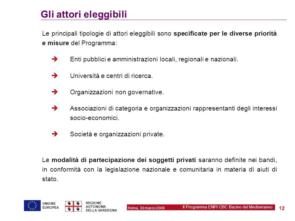 Gli attori eleggibili Le principali tipologie di attori eleggibili sono specificate per le diverse priorità e misure del Programma: