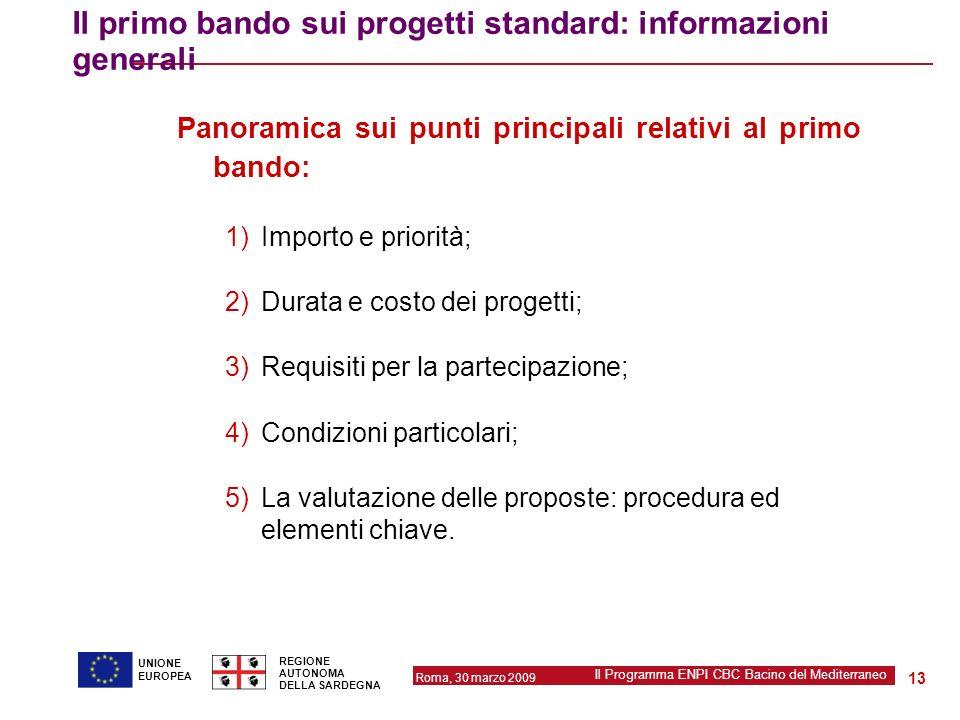 Il primo bando sui progetti standard: informazioni generali