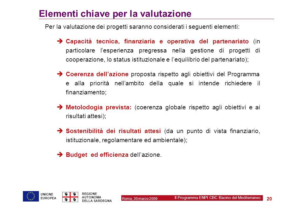 Elementi chiave per la valutazione