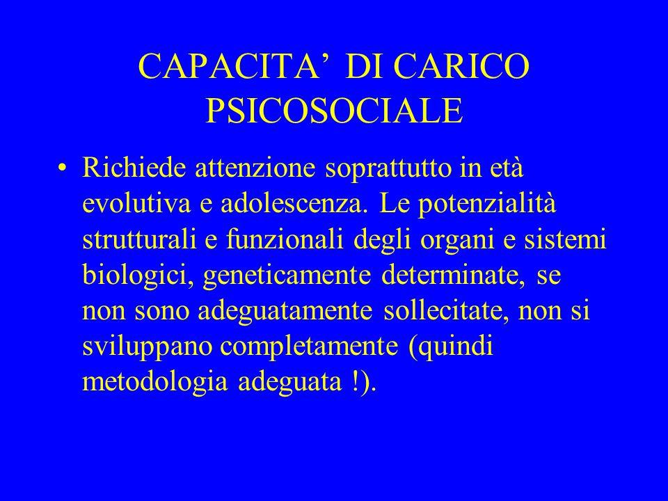 CAPACITA' DI CARICO PSICOSOCIALE