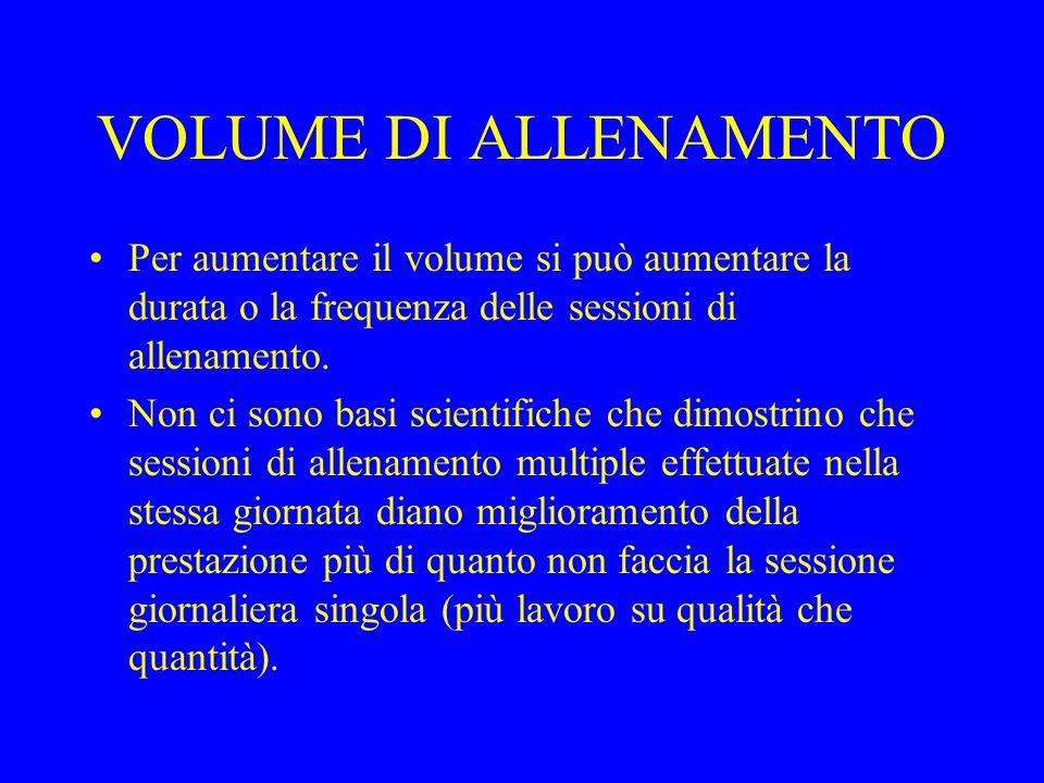 VOLUME DI ALLENAMENTO Per aumentare il volume si può aumentare la durata o la frequenza delle sessioni di allenamento.
