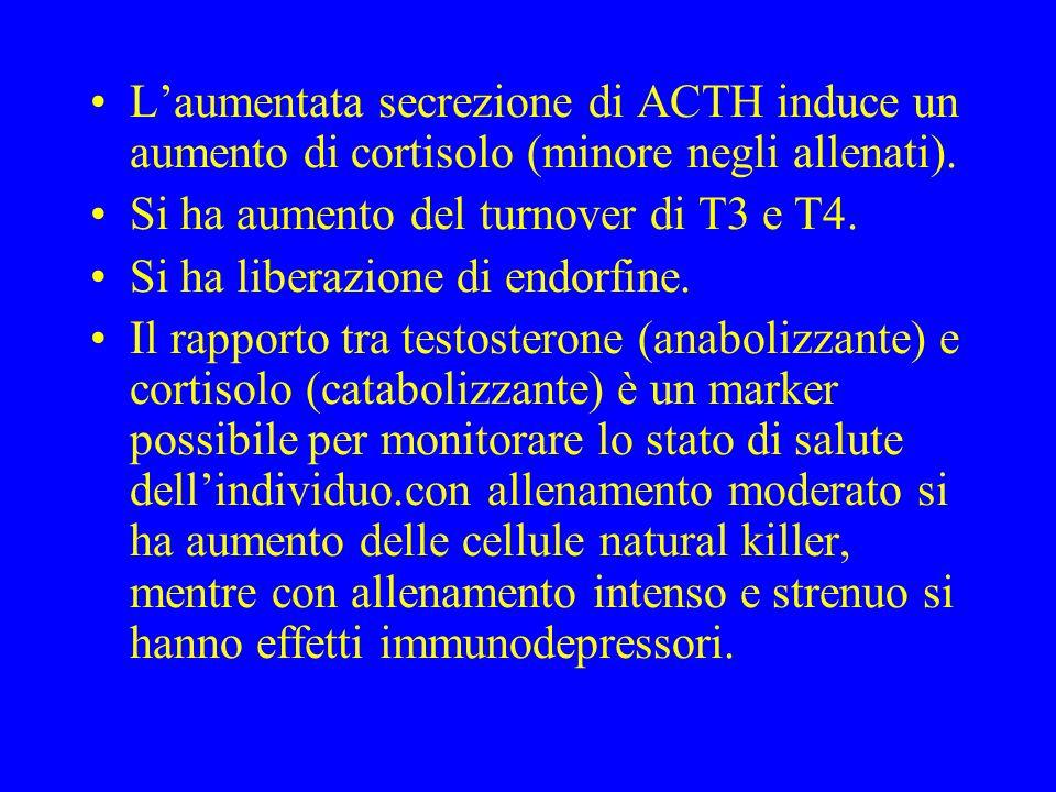L'aumentata secrezione di ACTH induce un aumento di cortisolo (minore negli allenati).